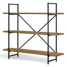 ailis brown pine wood metal frame 56 inch etagere three shelf