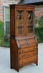 antique english oak stained glass jacobean fall front secretary