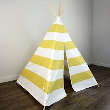 kids teepee tent in large saffron yellow and white stripe u2013 zeldabelle
