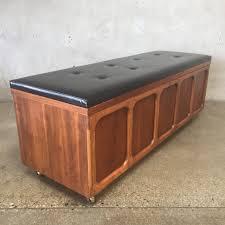 mid century lane walnut bench with vinyl record storage