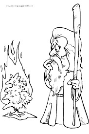 Moses With Burning Bush Color Page Bible Story Color Page Bible Coloring Pages Moses