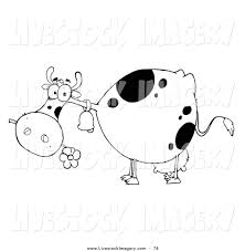clip art of a coloring page outline of a cow eating a daisy by hit