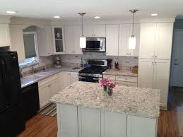 california kitchen with white shaker cabinets u0026 island
