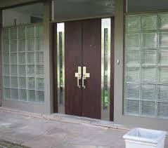 Exterior Door Design Brown Wooden Entry Doors Connected By Brown Wooden