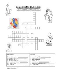 free crossword on adjectives that precede the noun in french love