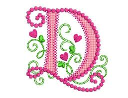 Create Monogram Initials Letter D Applique Machine Embroidery Design Monogram Initials