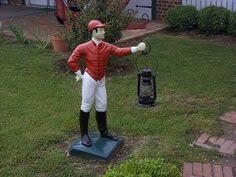 vintage black americana cement lawn jockey black americana