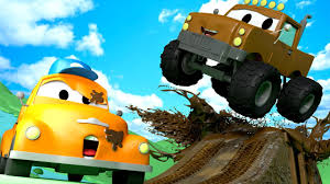 monster trucks you tube videos tom the tow truck u0027s car wash and marley the monster truck cars