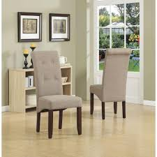 Tufted Black Leather Parson Dining Chair Simpli Home Cosmopolitan Tanners Brown Faux Leather Parsons Dining