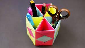 Origami Desk Organizer Origami Pencil Holder Desk Organizer Diy Paper Craft Tutorial