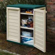 small outdoor plastic storage cabinet rowlinson plastic utility cabinet green and white amazon co uk