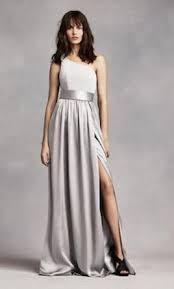 satin sash david s bridal vera wang one shoulder dress with satin sash size