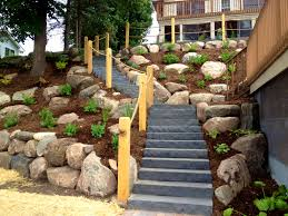 patio likable ideas about backyard hill landscaping on a