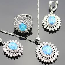 opal jewelry necklace images 2018 925 logo australia blue opal jewelry set for women silver jpg
