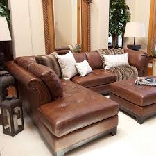 Leather Sofa With Chaise Tufted Leather Sectional Sofa In Bourbon With A Hardwood Frame