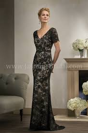 Mother Of Bride Dresses Couture by K198010 Long V Neck Lace Two Tone Mob Dress With Short Sleeves