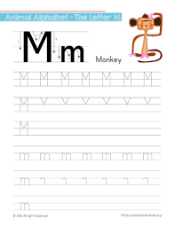 tracing letter m with monkey free worksheets for kids