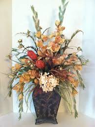 Artificial Floral Arrangements Tall Silk Floral Arrangement In Gold Cream U0026 Rust By Greatwood