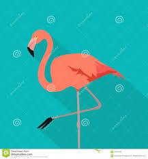 Pink Flat Color Flamingo Bird Flamingo Stand On One Leg Flat Design Style Pink