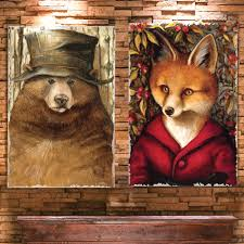 bear u0026 fox burlap canvas wall art set of 2 out of stock