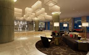 modern hotel lobby furniture on round carpet and sleek floor plus
