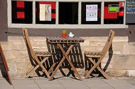 Wooden Table Chairs Wooden Table And Chairs Outside Cafe Editorial Photography