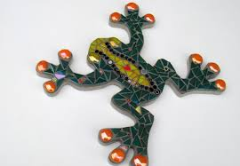 mosaic frog outdoor garden decoration ornament plaque wall