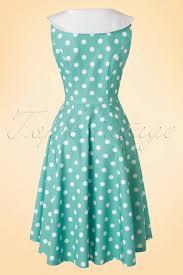 50s rival polkadot dress in mint
