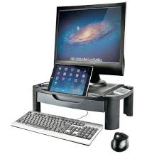 adjustable monitor stand for desk 2 in 1 height adjustable monitor riser tablet stand with storage