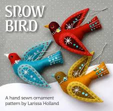 snow bird sewing and embroidery pattern by mmmcrafts crafts