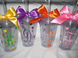 bridesmaid cups monogram tumblers with straws personalized cups bridesmaid cups