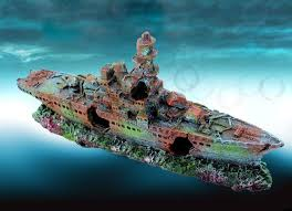 aquarium decoration lost pirate ship for fish tank resin ornaments