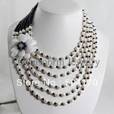 white pearl beaded necklace images Buy fashion freshwater rice pearl bead necklace jpg