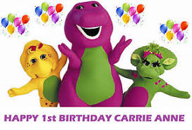 barney friends baby bop party edible image cake topper ebay