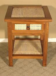 handmade solid mahogany bamboo nightstand bedside table by mbw