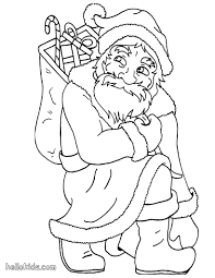santa kneels down coloring pages hellokids com