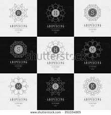 set luxury logos template flourishes calligraphic stock vector
