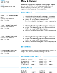 Phlebotomist Job Description Resume by Phlebotomist Resume General Work Resume Phlebotomy Format