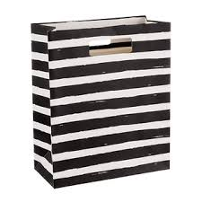 black and white striped gift bags painterly black stripes gift bag the container store