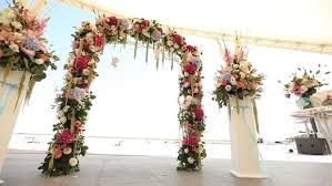 wedding arches decorated with flowers outdoor place for a wedding arch decorated with fresh flowers