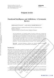 emotional intelligence and addictions a systematic review pdf