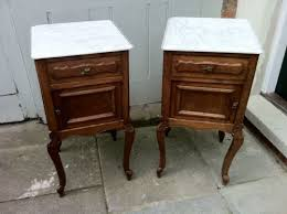 marble top bedside table pair of 19th century carved oak bedside tables with marble top