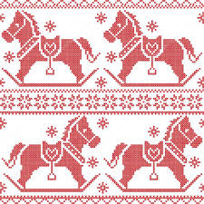 scandinavian seamless nordic pattern with rocking horses