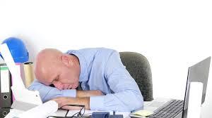 tired engineer man fall asleep working break time nap sleep office