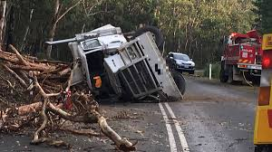 second big truck rollover on same road photos the border mail