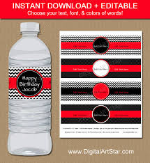 instant chevron water bottle labels editable template