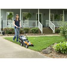 worx wg775 24v cordless 14 in rear discharge electric lawn mower