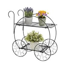 best choice products patio planter 2 tiered garden cart metal plant st