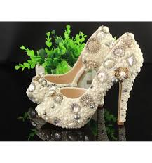 Wedding Shoes Peep Toe Customized Ivory Pearl Wedding Shoes Peep Toe Bridal Shoes Women