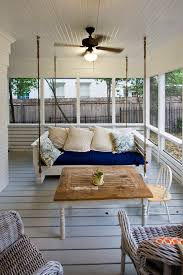 modern porch swing porch farmhouse with blue and white ceiling